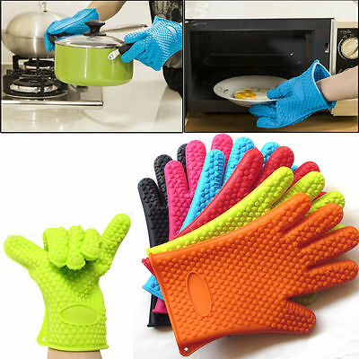 Heat Resistant Silicone Glove Oven Pot Holder Baking BBQ Cooking Mitts