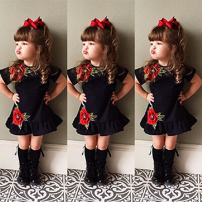Toddler Kids Baby Girl 3D Flower Summer Party Dress Sundress Clothes Age 0-4T