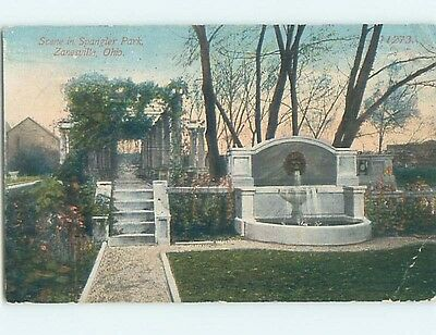 Bent Divided-Back PARK SCENE Zanesville Ohio OH hk7818
