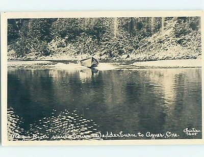 Pre-1940's rppc MOTOR BOAT ON ROUGE RIVER Wedderburn To Agness Oregon OR HM3884