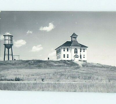 Slightly Smaller Pre-1950 rppc MIDLAND WATER TOWER BY SCHOOL Midland SD HM3693