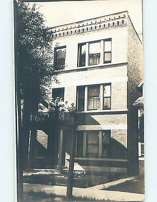 Pre-1918 rppc PEOPLE ON DECK AT APARTMENT BUILDING Marked Lafayette IN HM3180