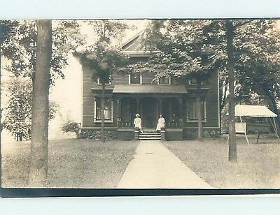 Pre-1918 rppc NICE TWO-STORY HOUSE IN THE TREES Marked Lafayette IN HM3105