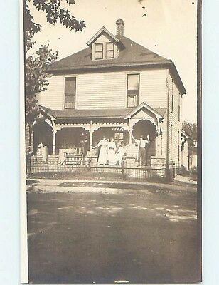 Pre-1918 rppc PEOPLE STANDING ON THE PORCH Marked Lafayette Indiana IN HM3176