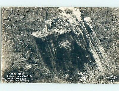 c1910 rppc KING ROCK AT SMUGGLERS NOTCH Cambridge & Jeffersonville VT HM2909