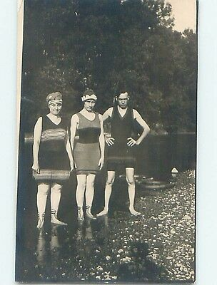 Pre-1918 rppc Risque WOMEN AND MAN IN SWIMSUITS Marshall Indiana IN HM3182