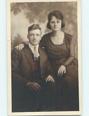 1920 rppc PRETTY YOUNG WOMAN WITH HER HUSBAND Clarksburg West Virginia WV HM3207