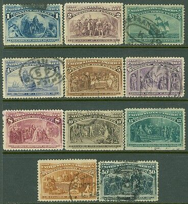 EDW1949SELL : USA 1893 Scott #230-40 Very Fine, Used. Nice fronts. Cat $465.00.