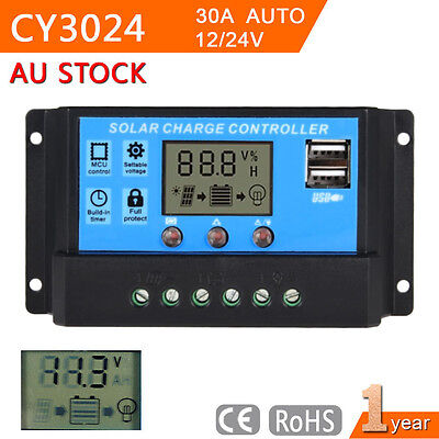 12V 24V 30A LCD Display PWM Solar Panel Battery Regulator Charge Controller@BA