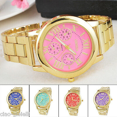 Womens Fashion Analog Wrist Watch Stainless Steel Gold Luxury Watch Watches