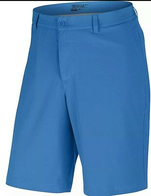 Nike Golf Stretch Woven Flat Front Blue Dri-Fit Short Style #725702 406 Size 36