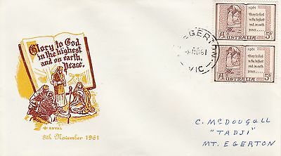 BD592) Australia 1961 Christmas brown and yellow cachet Royal FDC