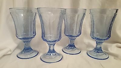 VTG Set of 4 INDIANA GLASS Recollection Blue Water Goblets EUC