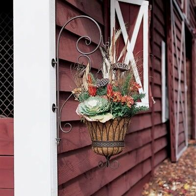 NIB Southern Living At Home Wisteria Planter & Hanger Iron Hanging Coir Basket