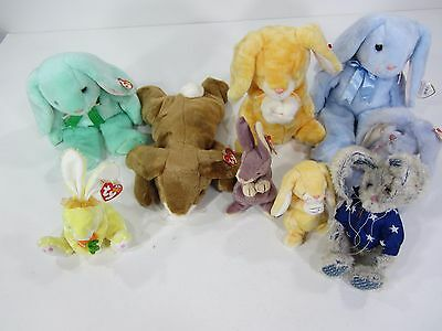 Ty Beanie Baby Buddies Lot Of 9 Easter Bunnies Rabbits 1993 to 2002 Rare