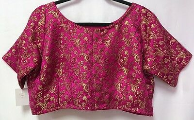 Saree Blouse Choli Padded Dark Pink Half Sleeve Brocade