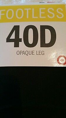 Womens size tall  black  footless tights 40D opaque  2 pairs in pack new