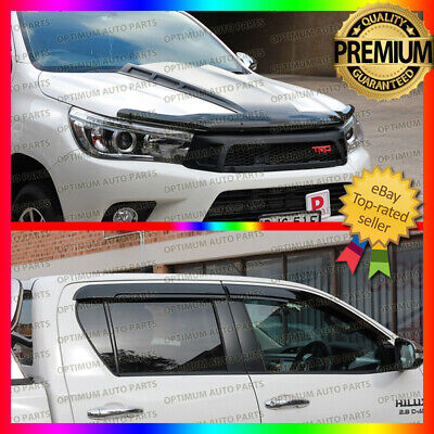 Bonnet Protector & Window Visors Weather Shields to suit Toyota Hilux 2015-2017