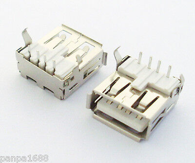 50pcs A Type 90D Right Angle USB 4pin Female Jack Socket PCB Mount Connector