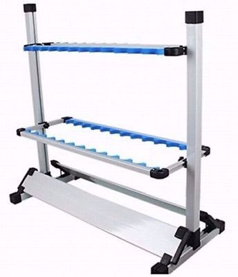 Fishing Rod Rack Holder Stand 24 Slots Alloy Metallic Silver with Blue Foldable
