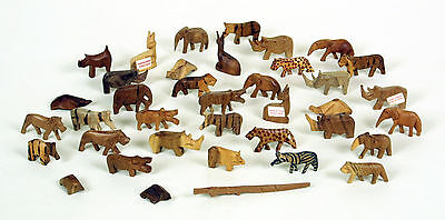 38 Hand Carved Wooden African Animals from Kenya One of A Kind Set