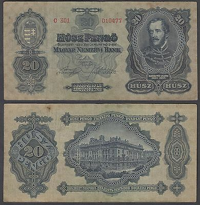 Hungary 20 Pengo 1930 (F-VF) Condition Banknote P-97