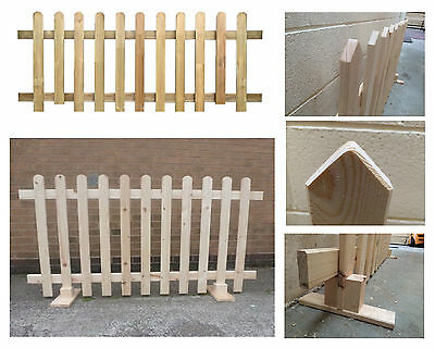 6FT Free standing Wooden Picket Fence – DIY Untreated Durable Natural Pine Wood