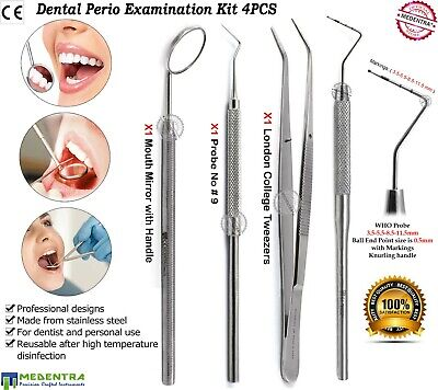 4 Pieces Dental Periodontal WHO Probe Dressing Forcep Student Examination Kit