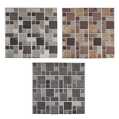 Self Adhesive Glitter Mosaic Tile Wall Stickers Kitchen Bathroom Interior Décor