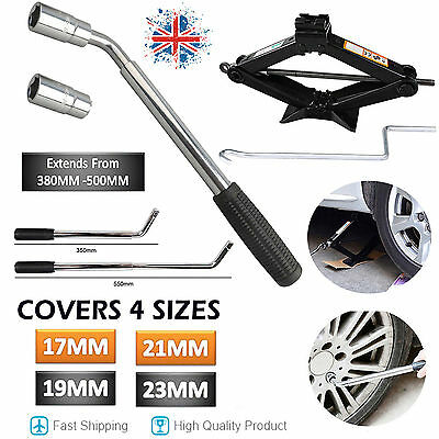 Heavy Duty Van Extendable Wheel Car Brace Socket Tyre Nut Wrench & Scissor Jack