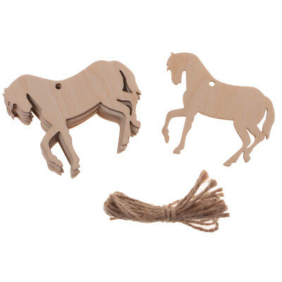 10pcs Gift Tag Wood MDF Tag Horse Shape Crafts Hanging Decor with String