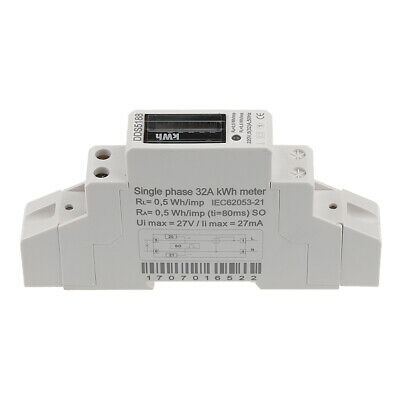 20/30/32A Single Phase Power kWh Electricity Energy Meter DIN Rail Mount LCD
