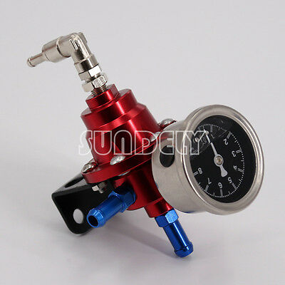 Universal Hi-Q Adjustable Fuel Oil Pressure Regulator Valve with Gauge Red