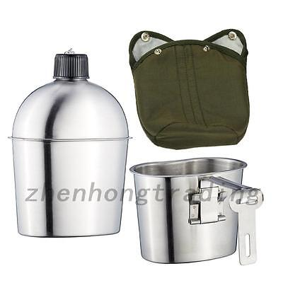 Outdoor Camping Stainless Steel Military Canteen+Green Patrol Water Bottle 1L