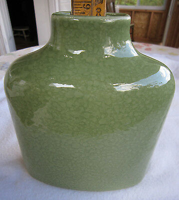 """Solid Green Vase 6"""" Tall Made Portugal for Bloomingdale's Simple Oval Rounded"""