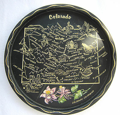 Vintage Tourist Souvenir State Map Round Tray Mid Century Colorado Attractions