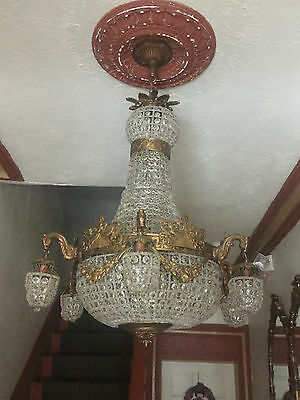 antique Empire chandelier 1930's  crystals And Lion Heads 13 Light Bulbs