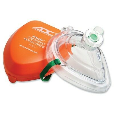 ADC - ADSafe Pocket Size CPR Mask with AMBU Hard Case, Orange, NEW! #4053