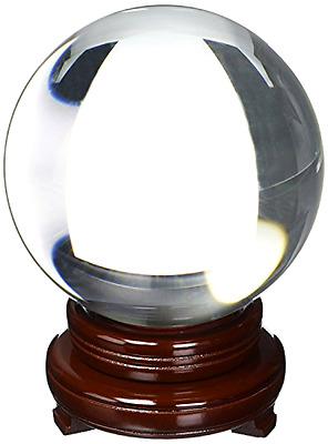 Crystal Ball Clear 150 mm 6 Inches with Glossing Dark Wooden Stand Home Decor