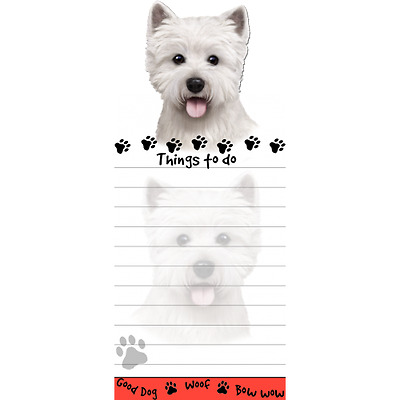 West Highland Terrier Westie Magnetic Post It Dog Breed Stationery Notepad