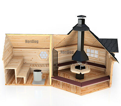 North Log Grillkota 9,2m2 with verlaengter Sauna cultivation Grill house