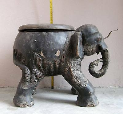 SURER RARE! Old Karen Hill Tribe Coconut Grater Stool Elephant Design