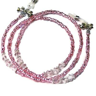 Reading eye glasses spectacle chain lanyard necklace In the Pink Crystal Sparkly