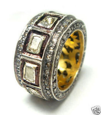 Victorian 3.40Ct Rose/antique Cut Diamond Silver Band,free Shipping