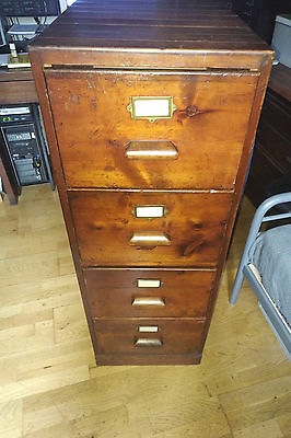 Solid Wood Vintage Filing Cabinet