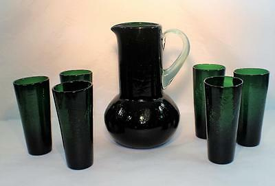 Vintage Hand Blown Emerald Green Crackle Glass Pitcher Set With 6 Glasses Nice!