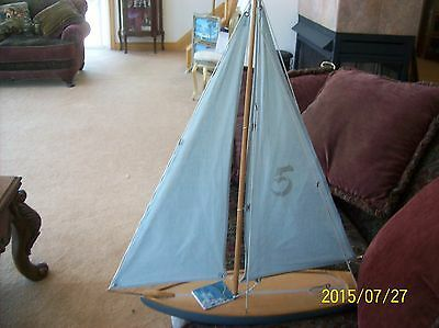 """Sail Boat Model Called """"Young American"""" Number 5 & Blue by Authentic Model"""