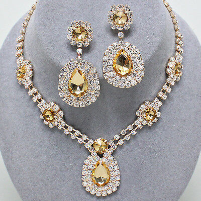 Golden diamante crystal necklace set statement bling bridal party prom -0242