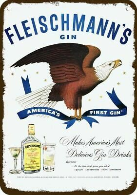 1950 FLEISCHMANN'S GIN Vintage Look Replica Metal Sign - AMERICA'S BALD EAGLE