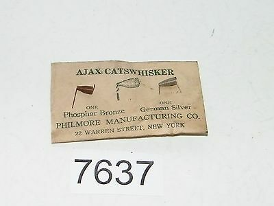 Antique Ajax Catswhisker 1 Phosphor Bronze 1 German Silver Philmore Radio